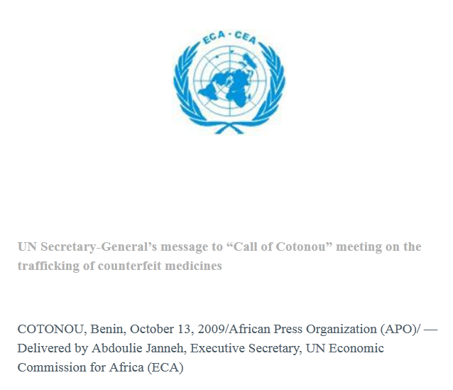 """Fondation Chirac : UN Secretary-General's message to """"Call of Cotonou"""" meeting on the trafficking of counterfeit medicines"""