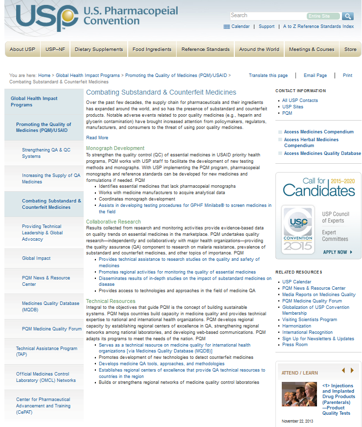 USP – Combating Substandard & Counterfeit Medicines