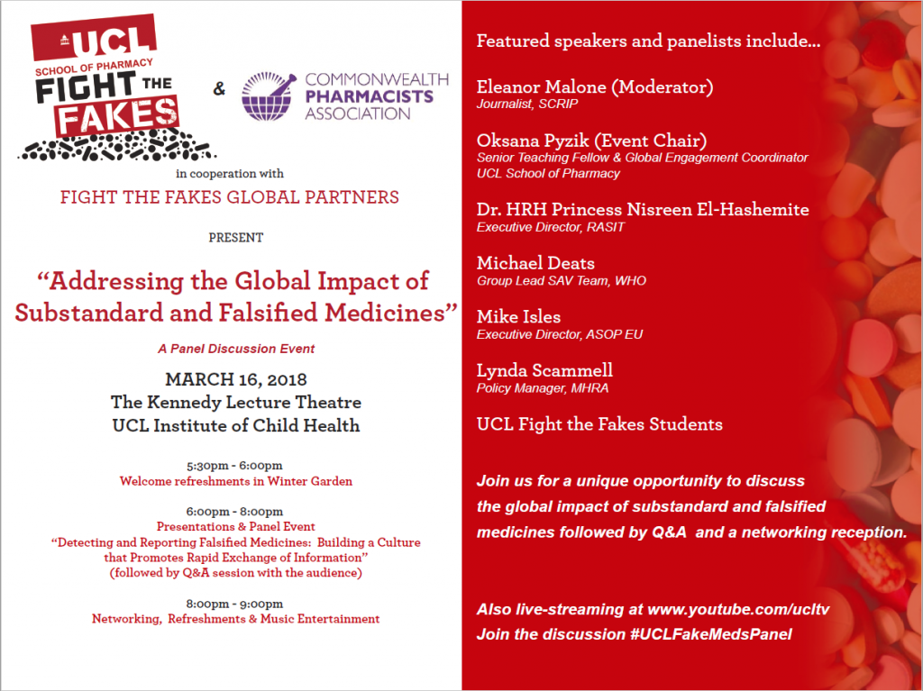 UCL Fight the Fakes & CPA event on Global Impact of Substandard and Falsified Medicines