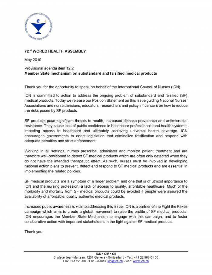 ICN Statement on the MS Mechanism on substandard and falsified medical products