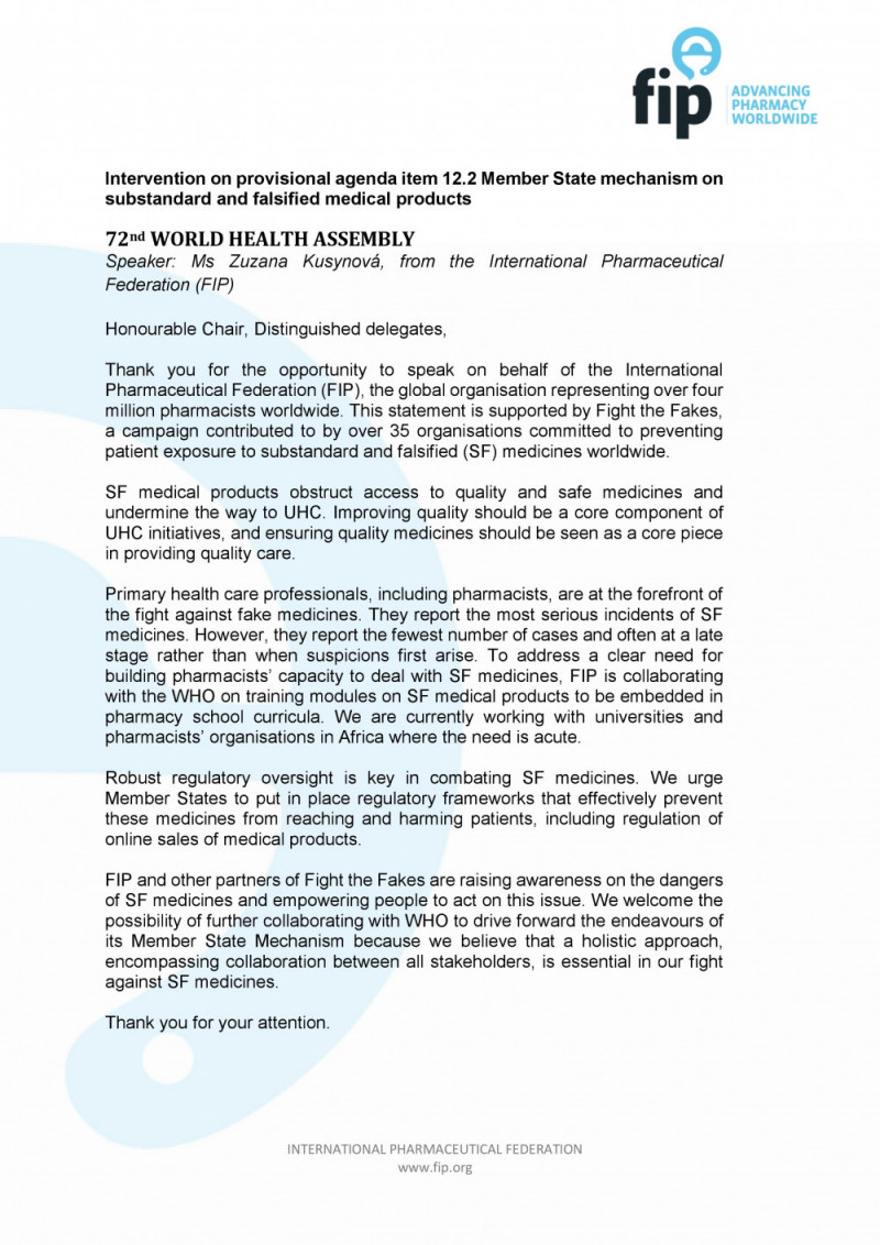 FIP intervention at WHA 72