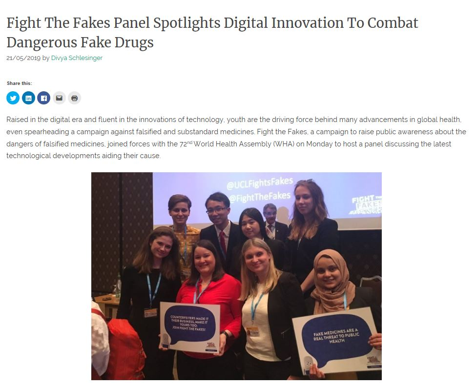 Fight the Fakes #WHA72 side event highlighted in new article in Health Policy Watch!