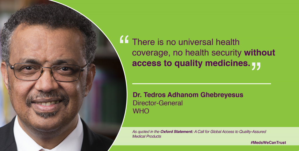 Over 150 representatives from governments, multilateral agencies, academia and civil society call for global action on medicine quality